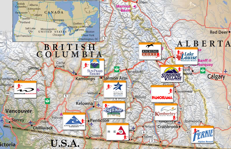 Skiing In Canada Ski Holidays In Canada Canadian Ski Resorts - Western us ski resorts map